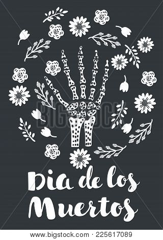 Vector Cartoon Illustration Of Skeleton Hand Bones Vector Decorated With Flowers On Dark Background.