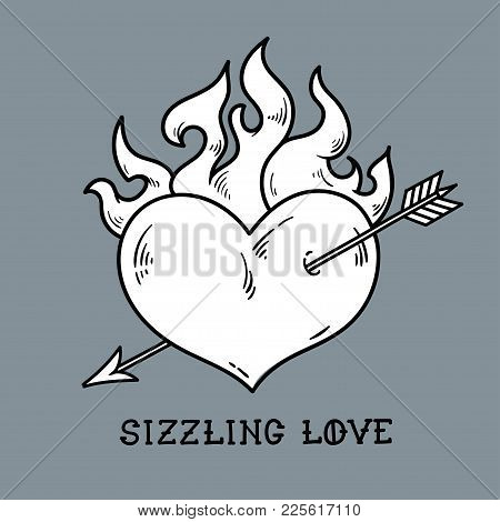 Tattoo Flaming Heart Pierced By Gold Arrow. Sizzling Love. Red Burning Heart. Passionate Heart. Old-