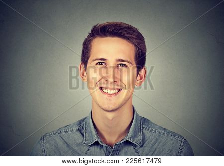 Headshot Smiling Modern Man, Creative Professional Isolated On Gray Wall Background