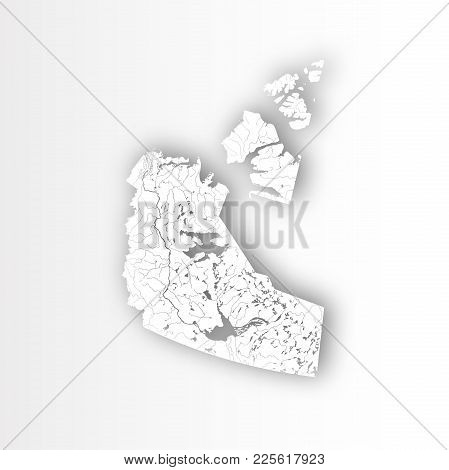 Provinces And Territories Of Canada - Map Of Northwest Territories With Paper Cut Effect. Rivers And