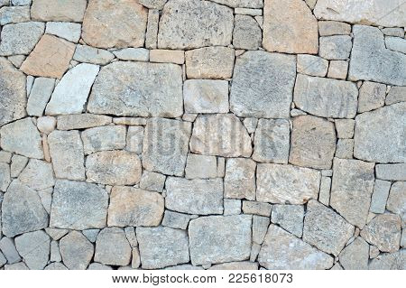 Grey Yellow Ocher Stone Wall, Background, Texture