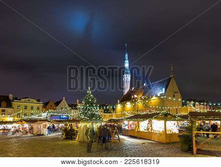 Christmas Market At Tallinn's Town Hall Square.