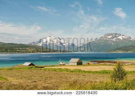Fishing And Farming At Lofoten Islands During Summer In Northern Norway. Scenic Lofoten Is A Popular
