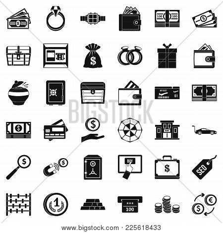 Sum Of Money Icons Set. Simple Set Of 36 Sum Of Money Vector Icons For Web Isolated On White Backgro