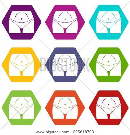 Slim Woman Body In Panties Icon Set Many Color Hexahedron Isolated On White Vector Illustration