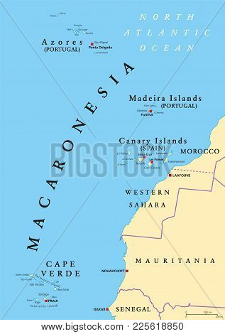 Macaronesia Political Map. Azores, Cape Verde, Madeira And Canary Islands. Collection Of Four Archip