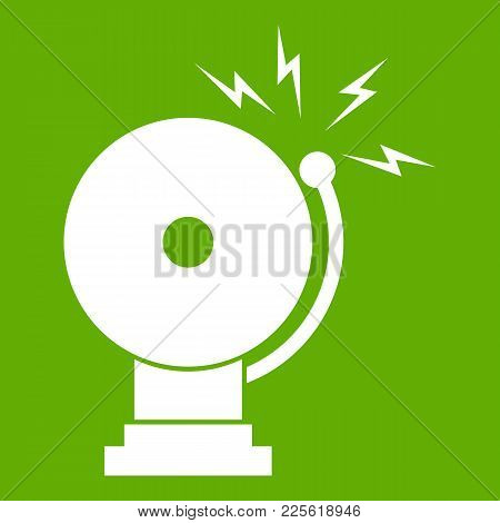 Fire Alarm Icon White Isolated On Green Background. Vector Illustration