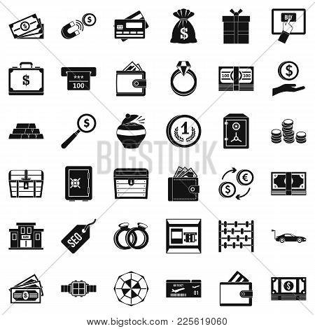 Hard Cash Icons Set. Simple Set Of 36 Hard Cash Vector Icons For Web Isolated On White Background