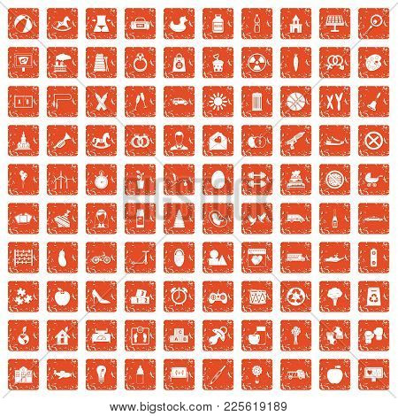 100 Maternity Leave Icons Set In Grunge Style Orange Color Isolated On White Background Vector Illus