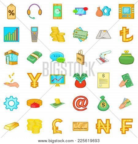 Real Cash Icons Set. Cartoon Set Of 36 Real Cash Vector Icons For Web Isolated On White Background