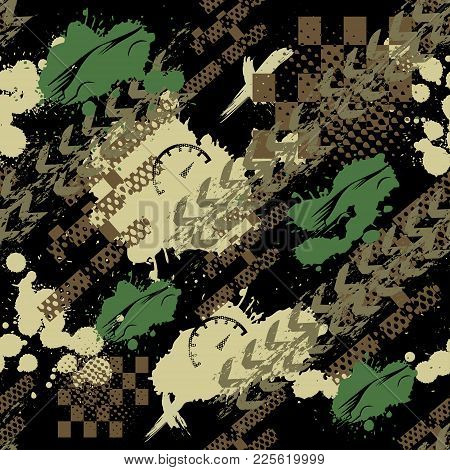 Abstract Seamless Sport Pattern For Girls, Boys. Creative Sport Vector Background With Car, Geometri