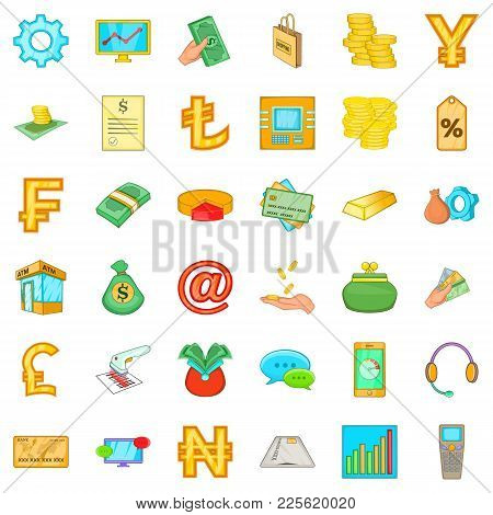 Cashier Icons Set. Cartoon Set Of 36 Cashier Vector Icons For Web Isolated On White Background