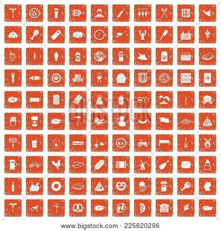 100 Meat Icons Set In Grunge Style Orange Color Isolated On White Background Vector Illustration