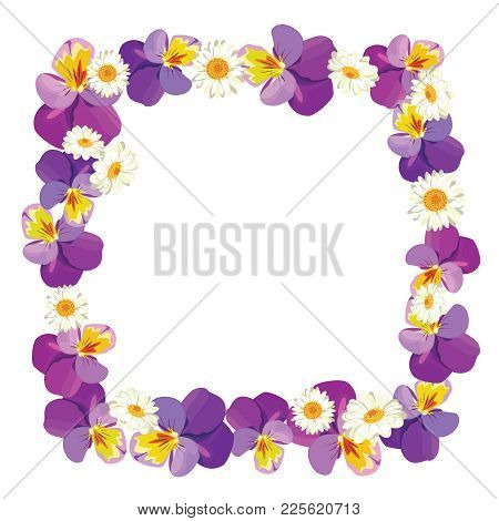 Floral Empty Frame On Black Background. Pansies And Camomiles . Vector Illustration.