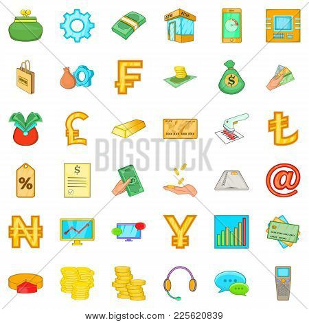 Pay Office Icons Set. Cartoon Set Of 36 Pay Office Vector Icons For Web Isolated On White Background