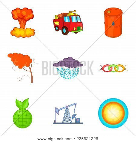 Protecting The Planet Icons Set. Cartoon Set Of 9 Protecting The Planet Vector Icons For Web Isolate