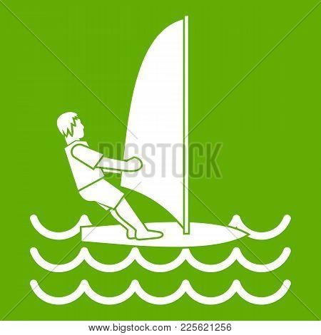 Man On Windsurf Icon White Isolated On Green Background. Vector Illustration