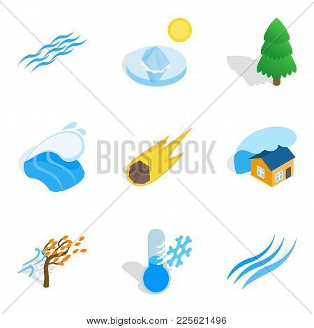 Cataclysm Icons Set. Isometric Set Of 9 Cataclysm Vector Icons For Web Isolated On White Background