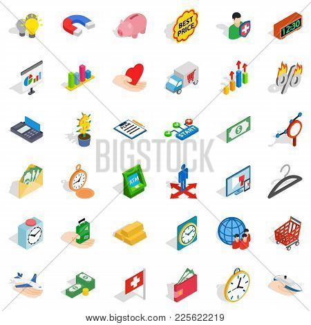 Bank Cheque Icons Set. Isometric Set Of 36 Bank Cheque Vector Icons For Web Isolated On White Backgr