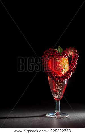 Valentines Day Breakfast. Pink Champagne With Strawberry And Red Love Heart. Ultimate Anniversary Or