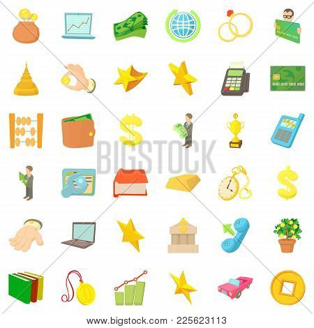 Keeping The Money Icons Set. Cartoon Set Of 36 Keeping The Money Vector Icons For Web Isolated On Wh