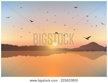 Image Landscape. Sunset On Exotic Island With Volcano. A Flock Of Birds On The Background Of Colorfu