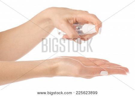 Antibacterial Spray For Hands Antiseptic For Hands On White Background Isolation