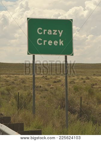 An Road Sign For An Oddly Named Creek In Arizona.