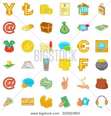 Material Assets Icons Set. Cartoon Set Of 36 Material Assets Vector Icons For Web Isolated On White
