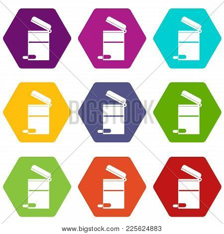 Steel Trashcan Icon Set Many Color Hexahedron Isolated On White Vector Illustration