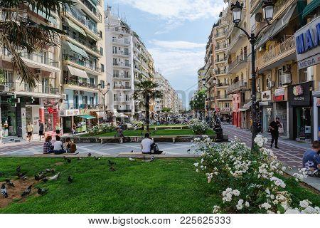 Thessaloniki , Greece - May 25, 2017: Streets Of Thessaloniki City. Urban View, Thessaloniki, Macedo