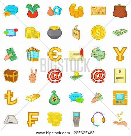 Change Purse Icons Set. Cartoon Set Of 36 Change Purse Vector Icons For Web Isolated On White Backgr