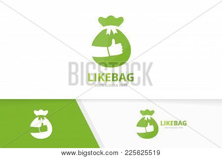 Vector Of Bag And Like Logo Combination. Sack And Best Symbol Or Icon. Unique Money And Choice Logot
