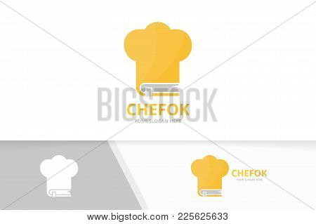 Vector Book And Chef Hat Logo Combination. Kitchen And Market Symbol Or Icon. Unique Bookstore, Libr
