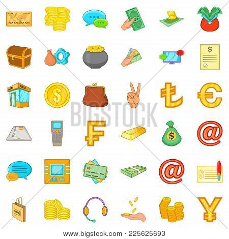 Money Bag Icons Set. Cartoon Set Of 36 Money Bag Vector Icons For Web Isolated On White Background