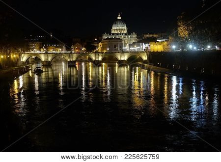 View From The Tiber River On The Bridge And St. Peter's Cathedral