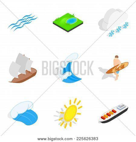 Nautical Icons Set. Isometric Set Of 9 Nautical Vector Icons For Web Isolated On White Background
