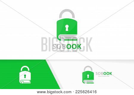 Vector Book And Lock Logo Combination. Safe And Market Symbol Or Icon. Unique Bookstore, Library And