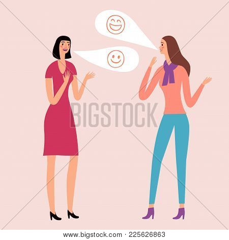 Lovely Cartoon Girls Talking And Laughing. Joke And Fun Illustration.