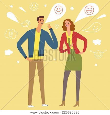 Lovely Cartoon Pair Talking And Laughing. Joke And Fun Illustration.