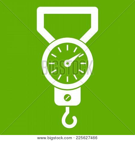Spring Scale Icon White Isolated On Green Background. Vector Illustration