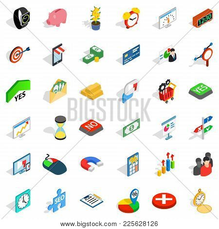 Material Aid Icons Set. Isometric Set Of 36 Material Aid Vector Icons For Web Isolated On White Back