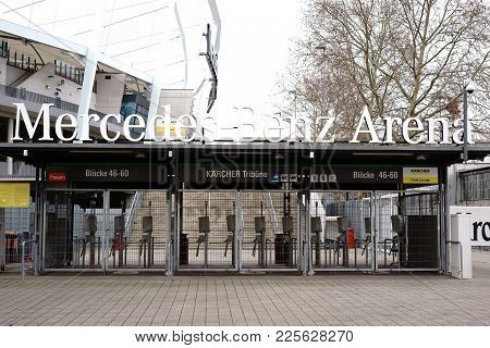 Stuttgart, Germany - February 03: The Barred Entrances To The Mercedes-benz Arena At The Kaercher Gr