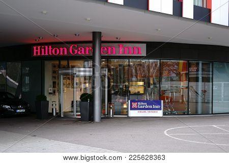 Stuttgart, Germany - February 03: The Glass Entrance With Revolving Door Of The Hilton Garden Inn Ho