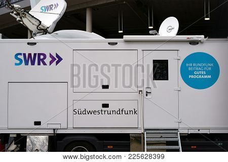 Stuttgart, Germany - February 03: The Broadcasting Station Or The Television Trailer Of The Sws Sout