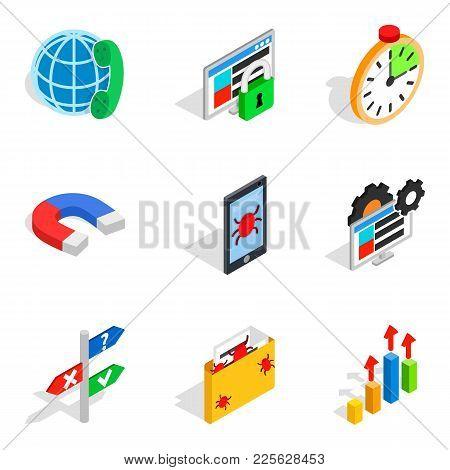 Local Area Network Icons Set. Isometric Set Of 9 Local Area Network Vector Icons For Web Isolated On