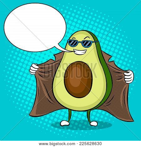 Avocado Exhibitionist In Raincoat Pop Art Retro Vector Illustration. Cartoon Food Character. Text Bu