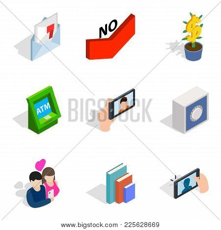 Rumor Icons Set. Isometric Set Of 9 Rumor Vector Icons For Web Isolated On White Background