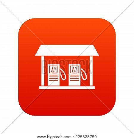 Gas Station Icon Digital Red For Any Design Isolated On White Vector Illustration