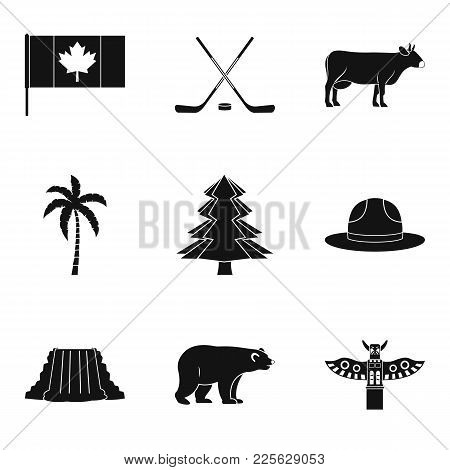 North America Icons Set. Simple Set Of 9 North America Vector Icons For Web Isolated On White Backgr